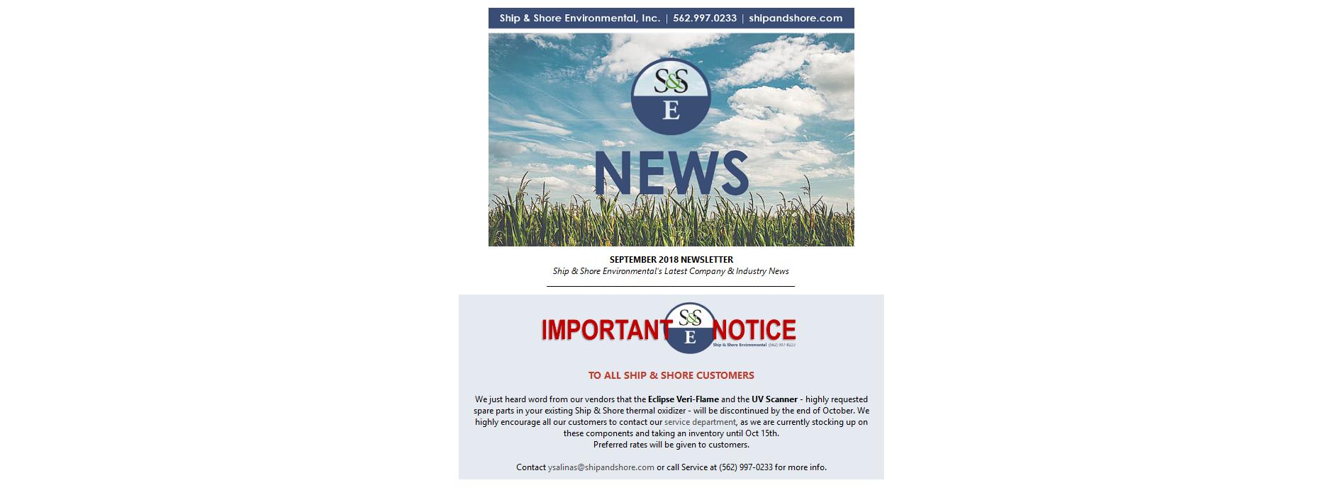 Ship and Shore Newsletter – September 2018