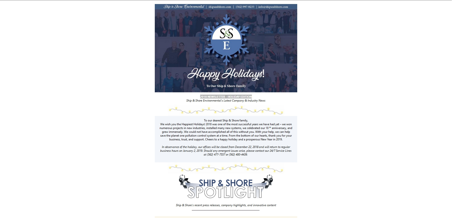 Ship and Shore Newsletter – Holiday Edition