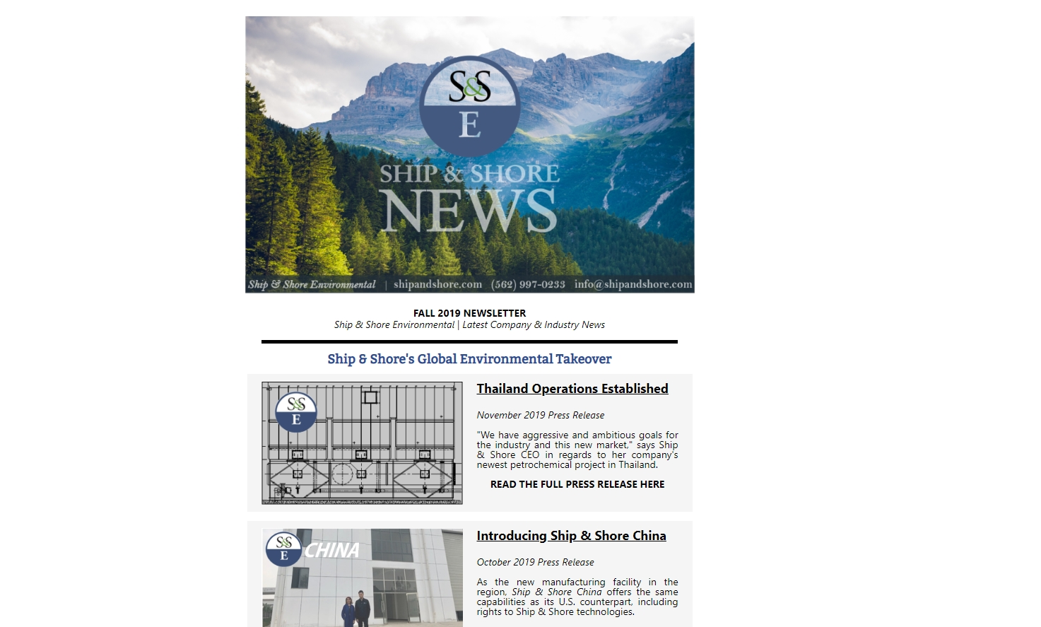 Ship and Shore Fall Newsletter 2019